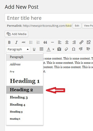 Formatting A Subheading in WordPress